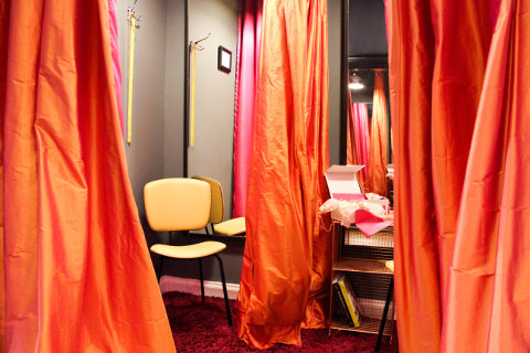 Odyssey Boutique, Silk Draped Fitting Rooms - SOCIAL